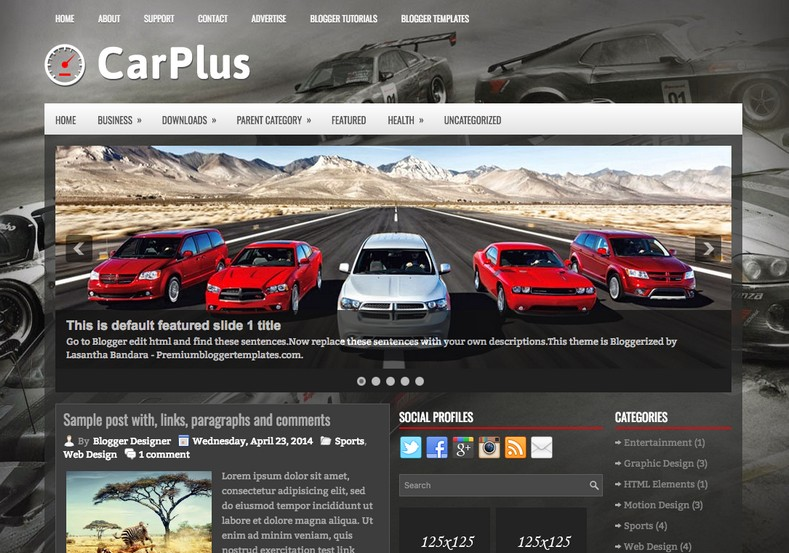 CarPlus Blogger Template. Blogger Themes. Best suitable for news blog templates. Ads ready blogspot templates help for add adsense ad code and easily showing adsence ads in your blog. Adapted from WordPress templates are converted from WordPress themes. It is help for take your rich. Blogger magazine template specially designed for magazine blogs. The writers can utilize this themes for take blog attractive to users. Elegant themes are more used themes in most of the blogs. Minimalist blog templates. Free premium blogger themes means, themes authors release two types of themes. One is premium another one is free. Premium templates given for cost but free themes given for no cost. You no need pay From California, USA. $10 USD, or $20 USD and more. But premium buyers get more facilities from authors But free buyers. If you run game or other animation oriented blogs, and you can try with Anime blog templates. Today the world is fashion world. So girls involve to the criteria for make their life fashionable. So we provide fashion blogger themes for make your fashionable. News is most important concept of the world. Download news blogger templates for publishing online news. You can make your blog as online shopping store. Get Online shopping store blogger template to sell your product. Navigation is most important to users find correct place. Download drop down menu, page navigation menu, breadcrumb navigation menu and vertical dropdown menu blogspot themes for free. Google Guide. Blogging tips and Tricks for bloggers. Google bloggers can get blogspot trick and tips for bloggers. Blog templates portfolio professional blogspot themes, You can store your life moments with your blogs with personal pages templates. Video and movie blogs owners get amazing movie blog themes for their blogs. Business templates download. We publish blogger themes for photographers. Photographers easily share photos via photography blog themes. St valentine Christmas Halloween templates. Download Slideshow slider templates for free. Under construction coming soon custom blogspot template. Best beautiful high quality Custom layouts Blog templates from templateism, SoraTemplates, templatetrackers, simple, cute free premium professional unique designs blog themes blogspot themes. Seo ready portfolio anime fashion movie movies health custom layouts best download blogspot themes simple cute free premium professional unique designs xml html code html5.