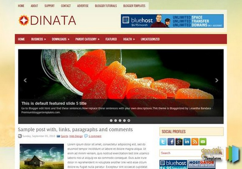 Dinata 2 Columns Blogger Template. Blogger Themes. Free Blogspot templates for your blogger blog. Best suitable for news blog templates. Best Ads ready blogspot templates help for add adsense ad code and easily showing adsence ads in your blog. Adapted from WordPress templates are converted from WordPress themes. It is help for take your rich. Blogger magazine template specially designed for magazine blogs. The writers can utilize this themes for take blog attractive to users. Elegant themes are more used themes in most of the blogs. Use minimalist blog templates for rich look for your blog. Free premium blogger themes means, themes authors release two types of themes. One is premium another one is free. Premium templates given for cost but free themes given for no cost. You no need pay From California, USA. $10 USD, or $20 USD and more. But premium buyers get more facilities from authors But free buyers. If you run game or other animation oriented blogs, and you can try with Anime blog templates. Today the world is fashion world. So girls involve to the criteria for make their life fashionable. So we provide fashion blogger themes for make your fashionable. News is most important concept of the world. Download news blogger templates for publishing online news. You can make your blog as online shopping store. Get Online shopping store blogger template to sell your product. Navigation is most important to users find correct place. Download drop down menu, page navigation menu, breadcrumb navigation menu and vertical dropdown menu blogspot themes for free. Google Guide to blogging tips and tricks for bloggers. Google bloggers can get blogspot trick and tips for bloggers. Blog templates portfolio professional blogspot themes, You can store your life moments with your blogs with personal pages templates. Video and movie blogs owners get amazing movie blog themes for their blogs. Business templates download. We publish blogger themes for photographers. Photographers easi