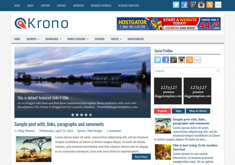 Krono Blogger Template. Blogger Themes. Best suitable for news blog templates. Ads ready blogspot templates help for add adsense ad code and easily showing adsence ads in your blog. Adapted from WordPress templates are converted from WordPress themes. It is help for take your rich. Blogger magazine template specially designed for magazine blogs. The writers can utilize this themes for take blog attractive to users. Elegant themes are more used themes in most of the blogs. Minimalist blog templates. Free premium blogger themes means, themes authors release two types of themes. One is premium another one is free. Premium templates given for cost but free themes given for no cost. You no need pay From California, USA. $10 USD, or $20 USD and more. But premium buyers get more facilities from authors But free buyers. If you run game or other animation oriented blogs, and you can try with Anime blog templates. Today the world is fashion world. So girls involve to the criteria for make their life fashionable. So we provide fashion blogger themes for make your fashionable. News is most important concept of the world. Download news blogger templates for publishing online news. You can make your blog as online shopping store. Get Online shopping store blogger template to sell your product. Navigation is most important to users find correct place. Download drop down menu, page navigation menu, breadcrumb navigation menu and vertical dropdown menu blogspot themes for free. Google Guide. Blogging tips and Tricks for bloggers. Google bloggers can get blogspot trick and tips for bloggers. Blog templates portfolio professional blogspot themes, You can store your life moments with your blogs with personal pages templates. Video and movie blogs owners get amazing movie blog themes for their blogs. Business templates download. We publish blogger themes for photographers. Photographers easily share photos via photography blog themes. St valentine Christmas Halloween templates. Download