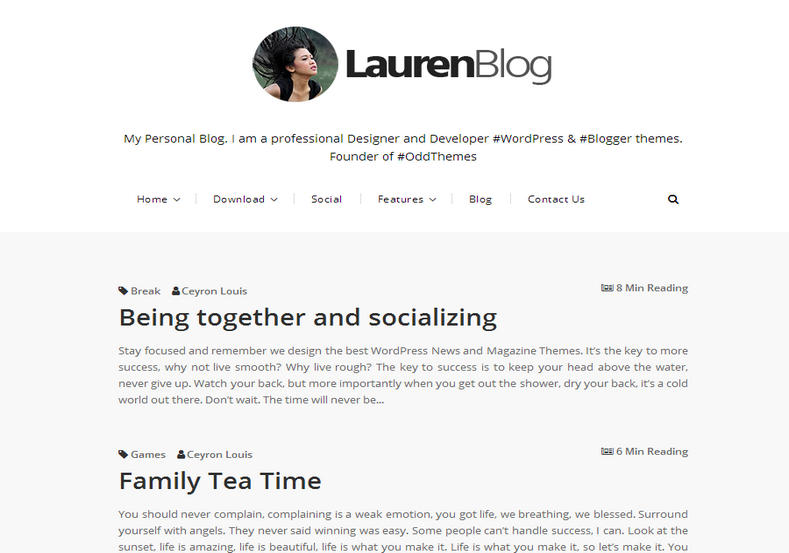 Lauren Blog Blogger Template is perfect template for writers and it is very simple theme to use