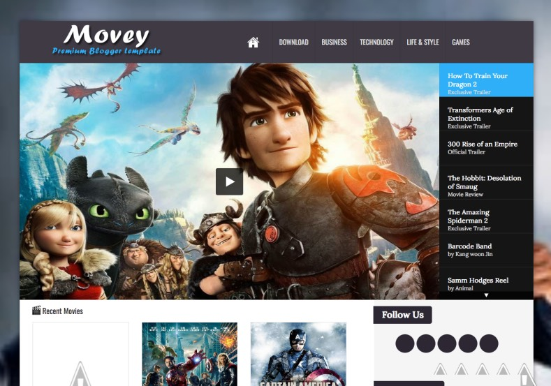 Movey Light Responsive Blogger Template 3