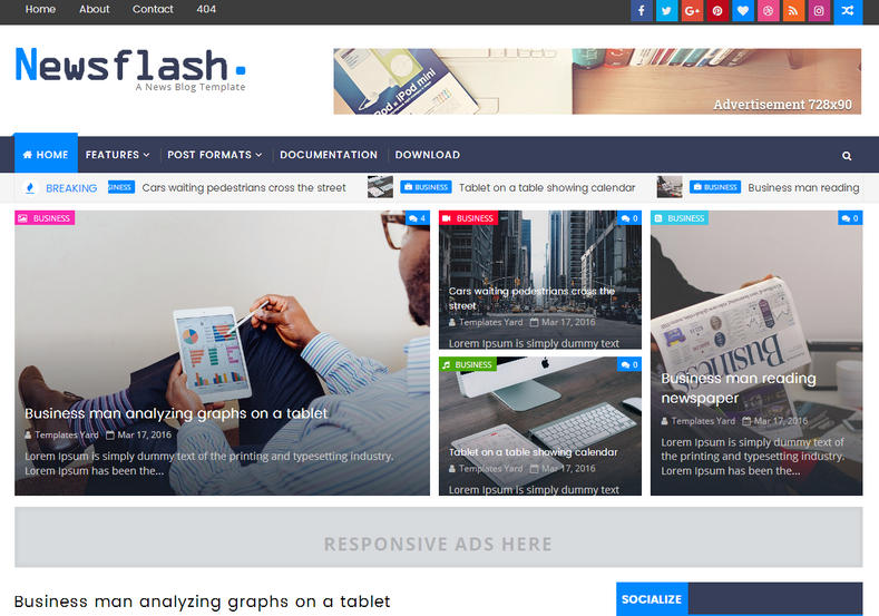Newsflash Blogger Template is a fast loading and best blogger theme for every niche specially news and blogging