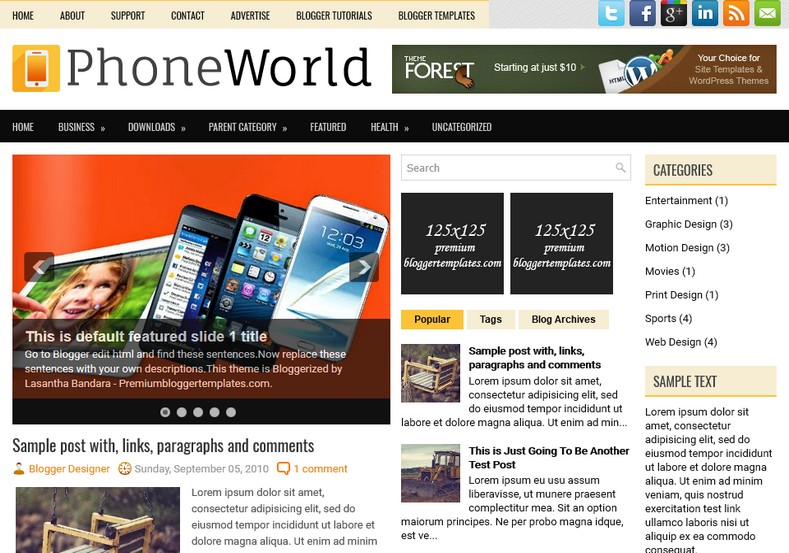 PhoneWorld Technology Blogger Template. Blogger Themes. Free Blogspot templates for your blogger blog. Best suitable for news blog templates. Ads ready blogspot templates help for add adsense ad code and easily showing adsence ads in your blog. Adapted from WordPress templates are converted from WordPress themes. It is help for take your rich. Blogger magazine template specially designed for magazine blogs. The writers can utilize this themes for take blog attractive to users. Elegant themes are more used themes in most of the blogs. Use minimalist blog templates for rich look for your blog. Free premium blogger themes means, themes authors release two types of themes. One is premium another one is free. Premium templates given for cost but free themes given for no cost. You no need pay From California, USA. $10 USD, or $20 USD and more. But premium buyers get more facilities from authors But free buyers. If you run game or other animation oriented blogs, and you can try with Anime blog templates. Today the world is fashion world. So girls involve to the criteria for make their life fashionable. So we provide fashion blogger themes for make your fashionable. News is most important concept of the world. Download news blogger templates for publishing online news. You can make your blog as online shopping store. Get Online shopping store blogger template to sell your product. Navigation is most important to users find correct place. Download drop down menu, page navigation menu, breadcrumb navigation menu and vertical dropdown menu blogspot themes for free. Google Guide to blogging tips and tricks for bloggers. Google bloggers can get blogspot trick and tips for bloggers. Blog templates portfolio professional blogspot themes, You can store your life moments with your blogs with personal pages templates. Video and movie blogs owners get amazing movie blog themes for their blogs. Business templates download. We publish blogger themes for photographers. Photographers easi