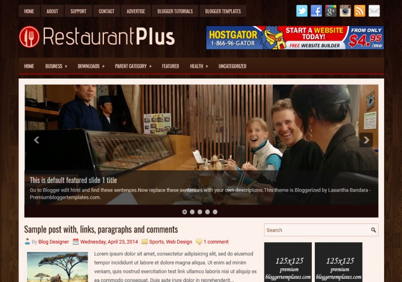 RestaurantPlus Blogger Template. Blogger Themes. Best suitable for news blog templates. Ads ready blogspot templates help for add adsense ad code and easily showing adsence ads in your blog. Adapted from WordPress templates are converted from WordPress themes. It is help for take your rich. Blogger magazine template specially designed for magazine blogs. The writers can utilize this themes for take blog attractive to users. Elegant themes are more used themes in most of the blogs. Minimalist blog templates. Free premium blogger themes means, themes authors release two types of themes. One is premium another one is free. Premium templates given for cost but free themes given for no cost. You no need pay From California, USA. $10 USD, or $20 USD and more. But premium buyers get more facilities from authors But free buyers. If you run game or other animation oriented blogs, and you can try with Anime blog templates. Today the world is fashion world. So girls involve to the criteria for make their life fashionable. So we provide fashion blogger themes for make your fashionable. News is most important concept of the world. Download news blogger templates for publishing online news. You can make your blog as online shopping store. Get Online shopping store blogger template to sell your product. Navigation is most important to users find correct place. Download drop down menu, page navigation menu, breadcrumb navigation menu and vertical dropdown menu blogspot themes for free. Google Guide. Blogging tips and Tricks for bloggers. Google bloggers can get blogspot trick and tips for bloggers. Blog templates portfolio professional blogspot themes, You can store your life moments with your blogs with personal pages templates. Video and movie blogs owners get amazing movie blog themes for their blogs. Business templates download. We publish blogger themes for photographers. Photographers easily share photos via photography blog themes. St valentine Christmas Halloween templates.