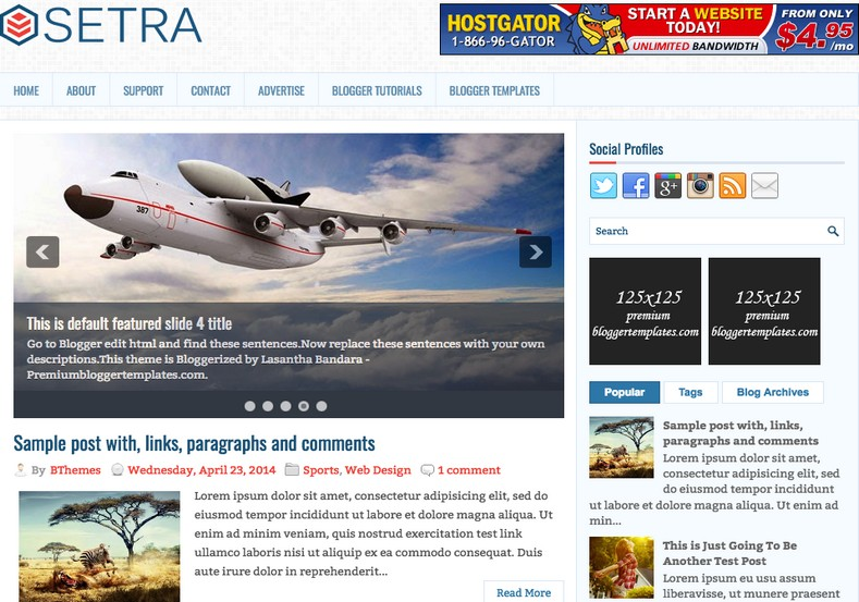 setra themes best suitable for news
