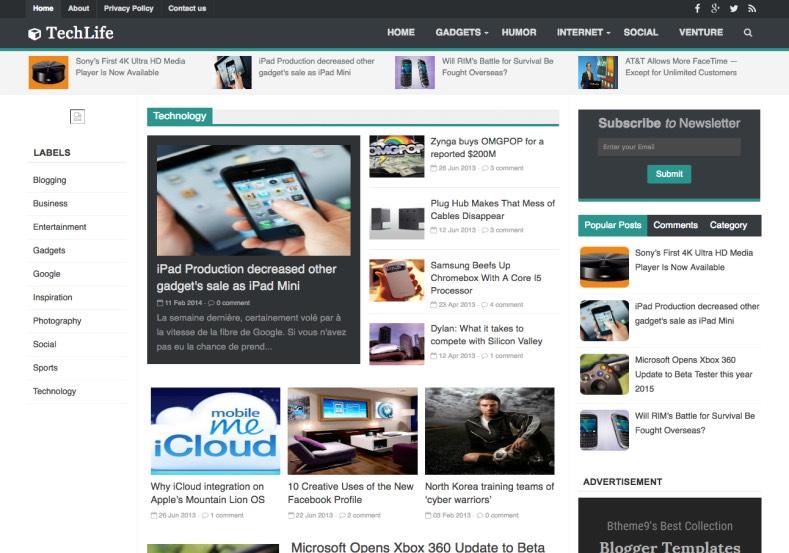 TechLife Blogger Template. Magazine blogger templates download from gooyaabi templates. TechLife Blogger Template.