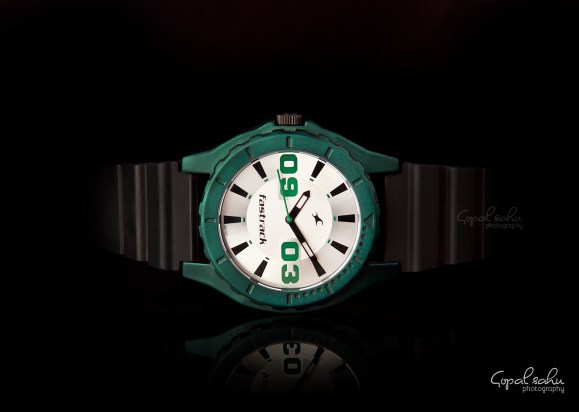 Fastrack green black casual watch photography