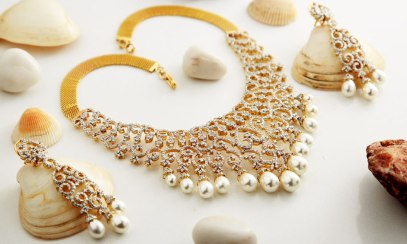 Diamond and pearl royal necklace Jewellery photography on theme or creative background