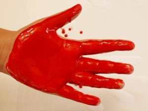 bloody hand before