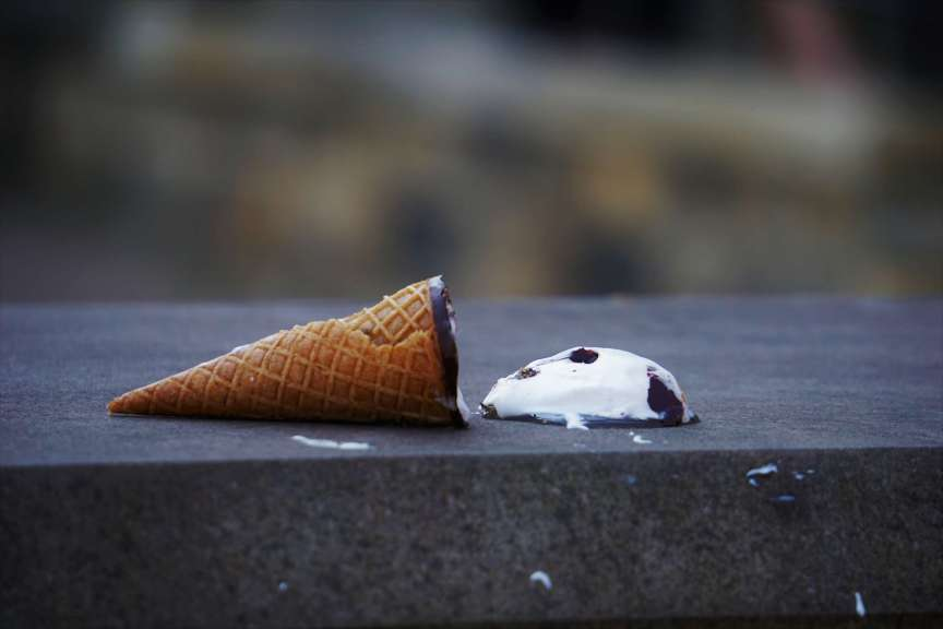ice cream cone spilled