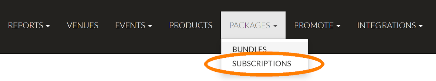 selecting subscriptions on the packages menu on your Passage dashboard