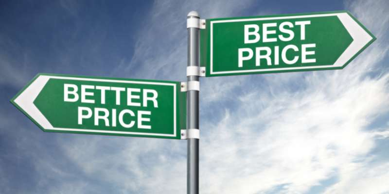 better price best price street signs pointing opposite directions
