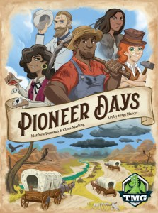 box cover for pioneer days board game, number one in the heavier dice games list