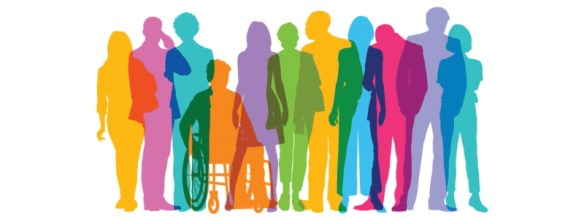 silhouette of inclusivity - different types and colours of people