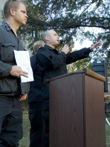 National Socialist Movement leader Jeff Schoep speaks at the rally.