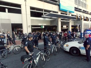 Police were out in force to keep the peace between neo-Nazi and KKK members and their counter-protesters.