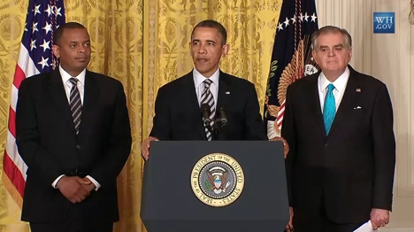 Mayor Anthony Foxx, left, with President Barack Obama and former Transportation Secretary Ray LaHood, right, at The White House in April.