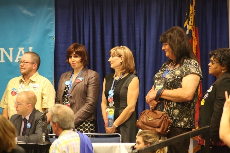 Janice Covington, second from right, was among 13 transgender delegates to the 2012 Democratic National Convention. Today, she alleges a fellow LGBT Democratic leader attempted to exclude her from a local women's caucus on the basis of gender identity. Photo Credit: David Lari/QNotes.