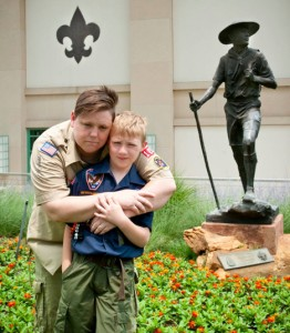 Lesbian Cub Scout leader Jennifer Tyrrell and her son, Cruz, were in Dallas during the Boy Scouts' policy vote. Photo Credit: Mark Noel/Inclusive Scouting Network.
