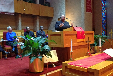 Bishop Tonyia Rawls, founder of the predominately LGBT Unity Fellowship Church Charlotte, spoke during a N.C. NAACP rally at Little Rock AME Zion Church on Tuesday. File Photo.