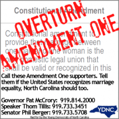 Young Democrats of North Carolina issued an action alert yesterday pushing for repeal of Amendment One.