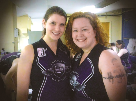 Charlotte Roller Girls B-Dazzlers retirees Tasty Murder and Addie Finitum took to the ring for the last time during the June 23 bout against the Kannapolis Roller Girls.