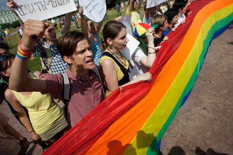 Activists participate in the St. Petersburg LGBT Pride march on June 29, 2013. Photo Credit: Valentine Egorshin.