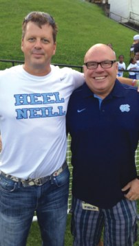 Wick Watson (left), University of North Carolina-Chapel Hill Class of 1989 and president of lacrosse.com, a sponsor of the NCAA Women's Lacrosse National Championship, with Dave Lohse.
