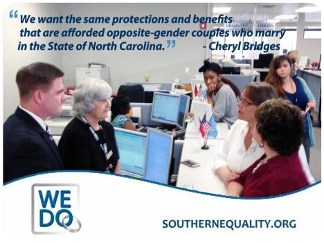The Campaign for Southern Equality released this image of their protest in Greensboro today. Guilford County Register of Deeds Jeff Thigpen is seen on the left. Couple Cheryl #### and Tracey are on the right.