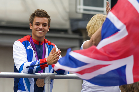 Diver Tom Daley at the 2012 London Olympic and Paralympic Games. Photo Credit: Jim Thurston, via Flickr.  Licensed CC.