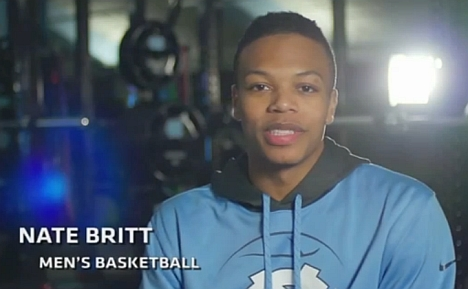 UNC Basketball's Nate Britt in a still from the Tar Heels for Equality video.