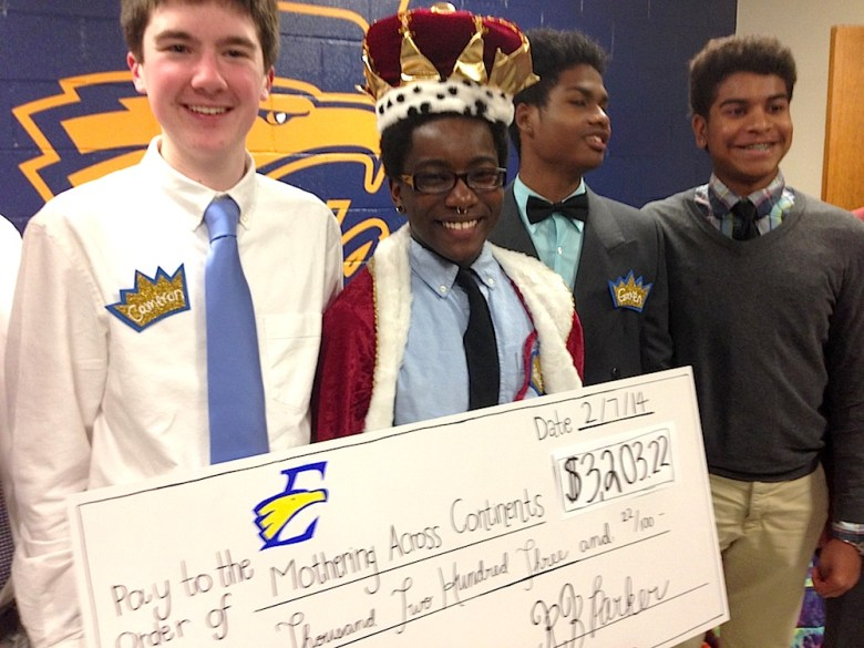 East Mecklenburg senior Blake Brockington with other homecoming court members. Brockington raised $2,335.55 of a total $3,203.22. The student who raised the most money was crowned homecoming king.