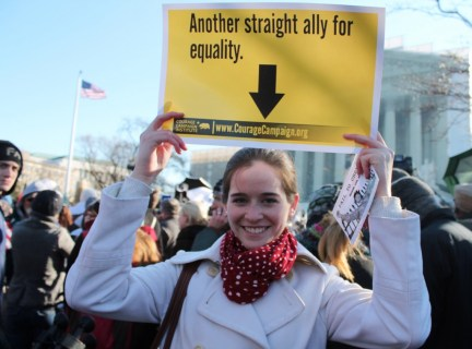 A straight ally attends a rally at the U.S. Supreme Court on March 26, 2013.  Photo Credit: Elvert Barnes, via Flickr. Licensed CC.