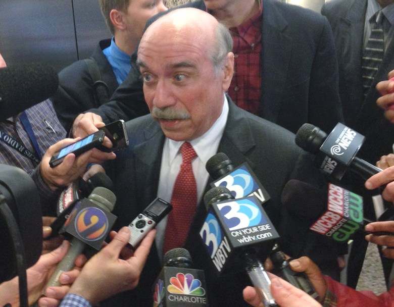 Dan Clodfelter speaks with local media after Charlotte City Council named him the new mayor.