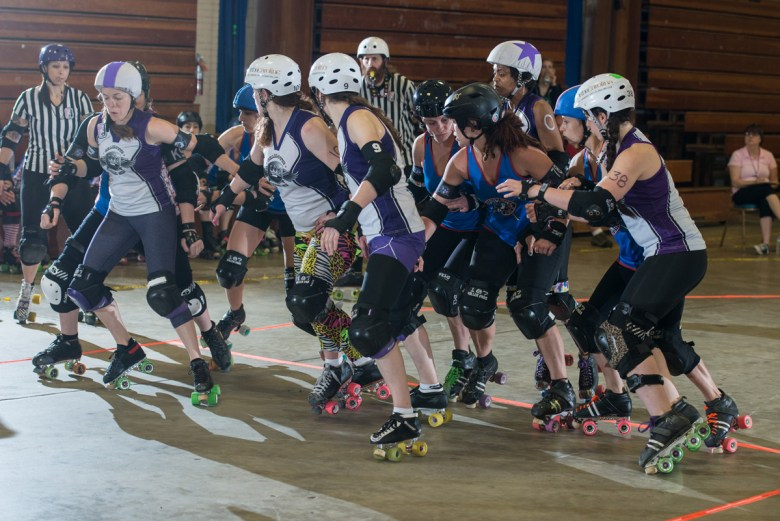 The Charlotte Rollergirls All Stars went head-to-head with the Brandywine Roller Girls in tourney play. Photo Credit: Andrew Keyes