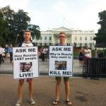 Russian activist stages White House protest