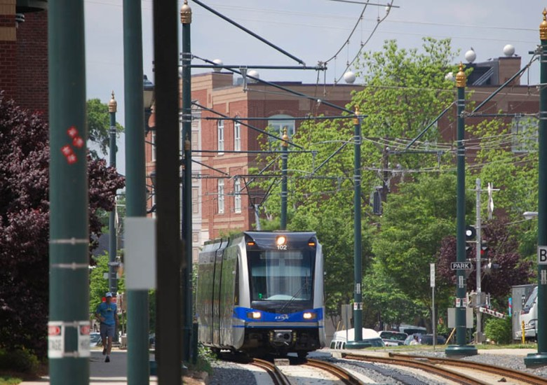 Charlotte's LYNX Blue Line snakes its way through South End. Photo Credit: James Willamor, via Flickr. Licensed CC.