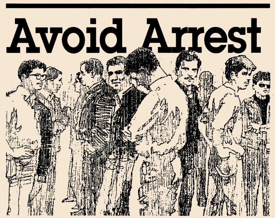 This graphic appeared on the front page of the March 1987 issue of qnotes above a list of tips and warnings for gay men to avoid arrest.