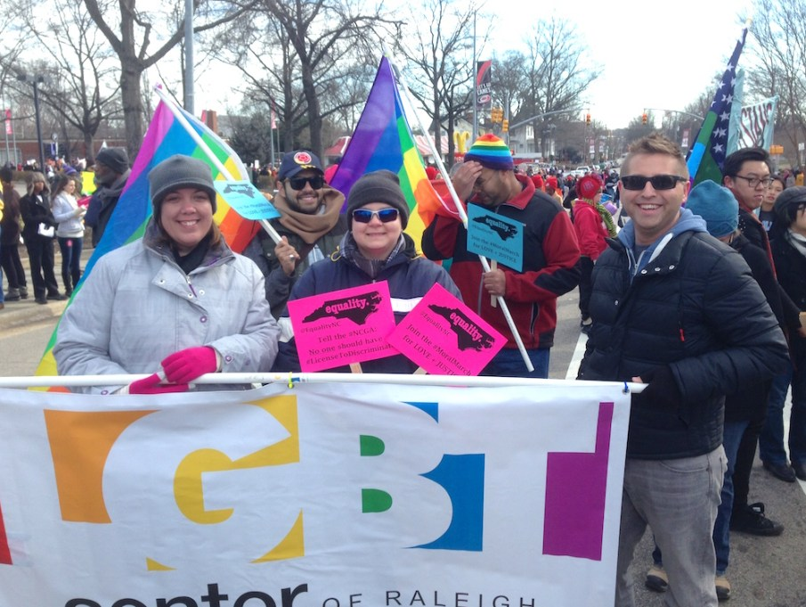 The LGBT Center of Raleigh joined in the NAACP's annual HKonJ march. Photo by Jake Gellar-Goad.