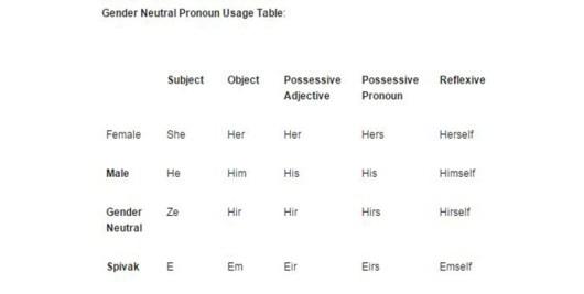 gender neutral language UNCC