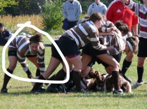 Mary Gross in her collegiate days playing rugby. Photo Credit: Charlotte Agenda