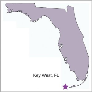 Key West is located at the southern-most tip of Florida and is also the southern-most spot in the U.S.