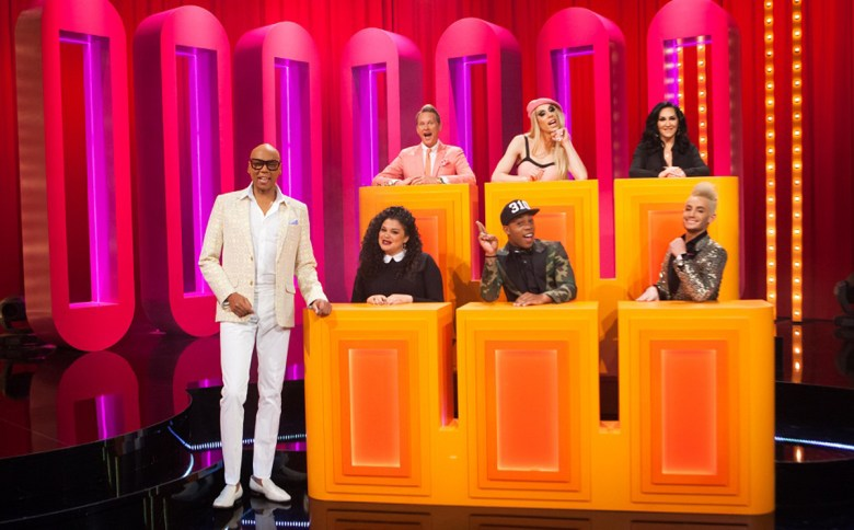 Carson Kressley, Alaska 5000, Michelle Visage, Michelle Buteau, Todrick Hall, Frankie Grande and RuPaul Charles get set for 'Gay for Play.'
