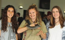 Students from Geelong Lutheran College Annalyse Palladini and Brittany Young with Rachael Beecham.