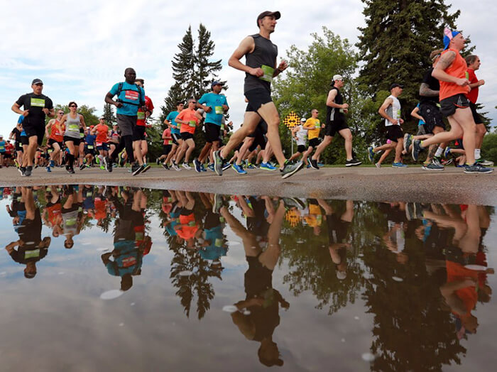 Photo of people running in the 2019 Saskatchewan Marathon