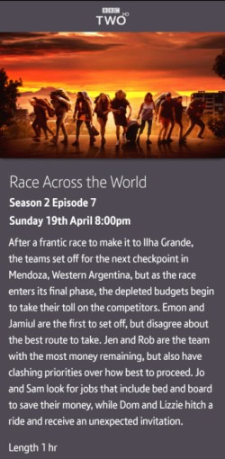 Race Across the World - 19-04-2020 - BT TV app