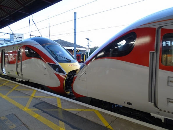 801108 and 80110 at Grantham railway station