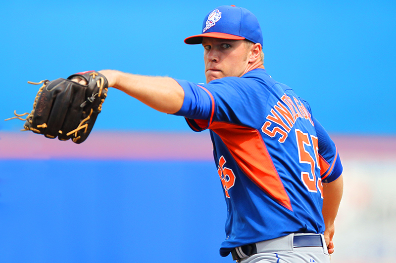 New York Mets top prospect Noah Syndergaard (46) pitches in the fourth inning at Tradition Field in Port St. Lucie, Fla., Feb. 27, 2014. (Gordon Donovan)