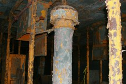The creepy darkness of the lower level of the boat is now covered with chipping paint and corrosion. (Gordon Donovan)