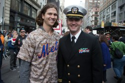 New York Mets pitcher Jacob deGrom poses for a photo with Lt. Matthew Stroup, deputy director, Navy Office of Information East, before the start of the Veterans Day parade on Fifth Avenue in New York on Nov. 11, 2014. (Gordon Donovan)